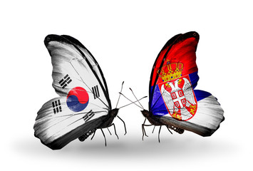 Two butterflies with flags South Korea and Serbia