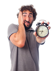 young bearded man with a clock