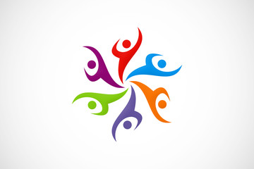 abstract people diversity color vector logo