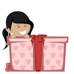 Big box surprise - A black haired girl with a big gift box.