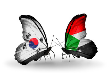 Two butterflies with flags South Korea and Sudan
