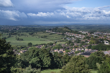 View from top of Glastonbury Tor overlooking Glastonbury town in