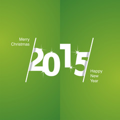 2015 Happy New Year white green background