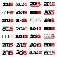 New year 2015 text design collection