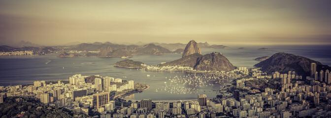 Panorama view of Botafogo Bay in  Rio de Janeiro, Brazil