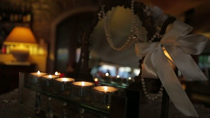beautiful romantic candles in the cozy restaurant