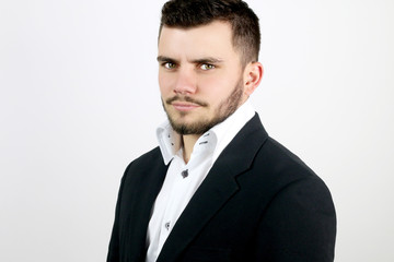 young businessman with blue eyes
