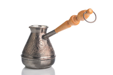 Copper Turk to brew coffee on a white background