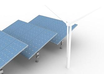 Windmills and Solar Panels. Alternative Energy Concept.