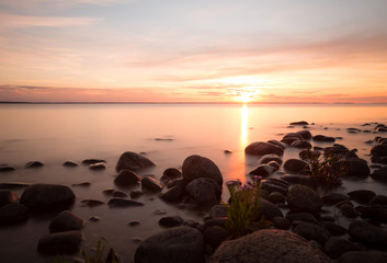 Sunset over the baltic sea, coastline of Öland