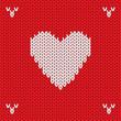 Obrazy na płótnie, fototapety, zdjęcia, fotoobrazy drukowane : Christmas Knitted background with heart. Vector