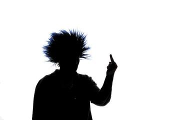Woman gesturing - silhouette