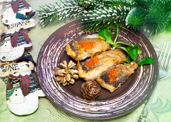 Christmas food - roasted fish with red caviar