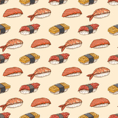 seamless background with hand-drawn sushi