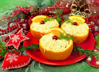 Christmas  appetizer in a orange baskets