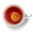 Сup of tea with a slice of lemon.