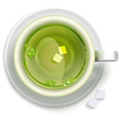 A cup of green tea with sugar stands on a saucer