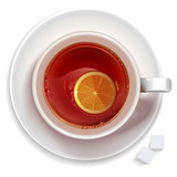 Cup of black tea with lemon,sugar standing on a saucer
