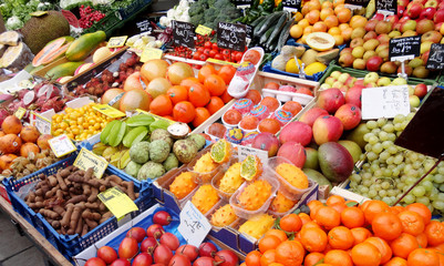 Exotic fruits and vegetables for sale