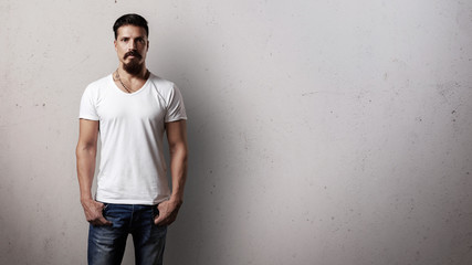 Bearded handsome guy in white t-shirt