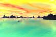 Leinwanddruck Bild - 3D rendered fantasy alien planet. Sky and sea