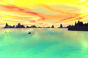 3D rendered fantasy alien planet. Sky and sea