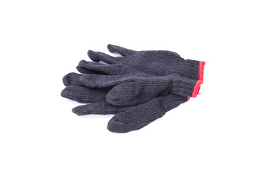 Black work gloves on white background.