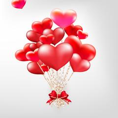 Elegant Valentines day heart balloons. EPS 10