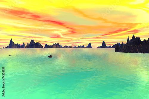 Leinwanddruck Bild 3D rendered fantasy alien planet. Sky and sea
