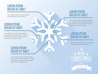 Snow flake Merry Christmas vector infographic