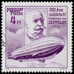 Stamp printed in Hungary shows Zeppelin