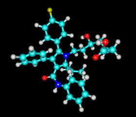 Atorvastatin molecule isolated on black