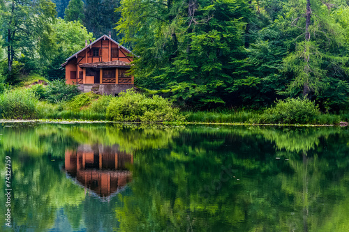 canvas print picture Red house on the lake