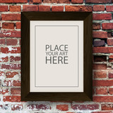 Fototapety Brown Wooden Frame on Red Brick Wall
