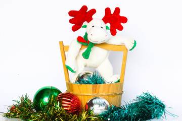 Christmas doll on white background, christmas souvenir