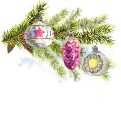 Christmas Watercolor Card with Sprig of Fir Trees