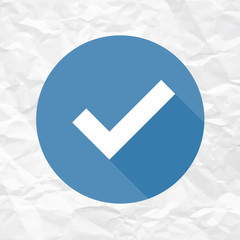 Check Mark Icon on Crumpled Paper Texture