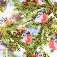 Christmas Watercolor Seamless Background