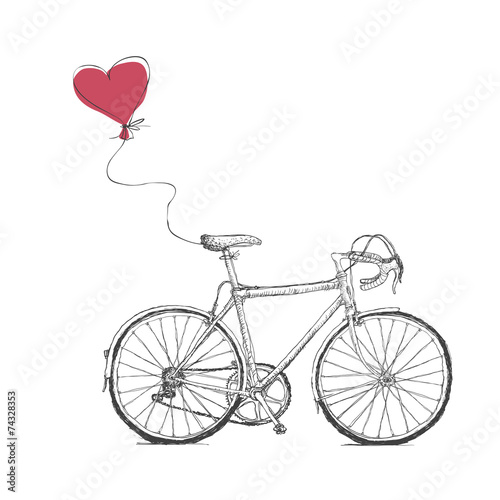 Vintage Valentines Illustration with Bicycle and Heart Baloon © pashabo