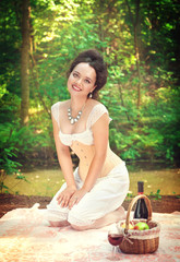 Beautiful smiling woman in corset and trousers