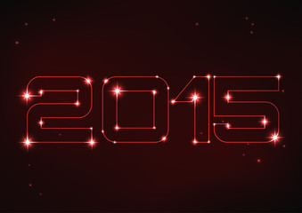 illustration of red number 2015 in style of constellation
