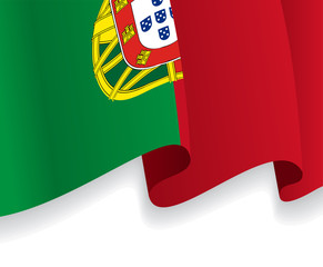 Background with waving Portuguese Flag. Vector
