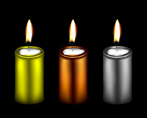 illustration of three metallic color decorative candles