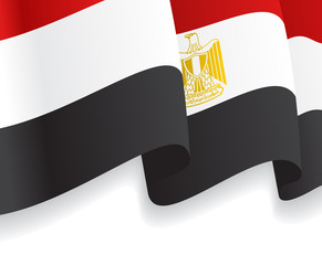 Background with waving Egyptian Flag. Vector