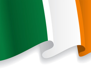 Background with waving Irish Flag. Vector
