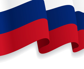 Background with waving Russian Flag. Vector