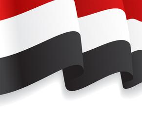 Background with waving Yemen Flag. Vector