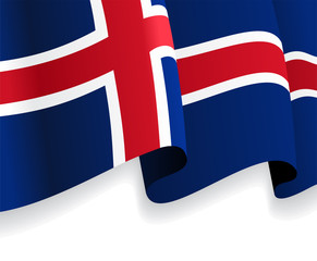 Background with waving Icelandic Flag. Vector