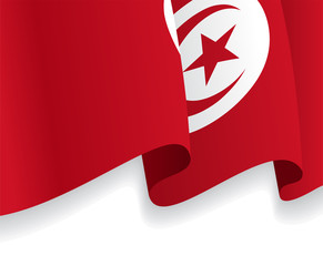 Background with waving Tunisia Flag. Vector