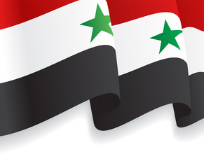 Background with waving Syrian Flag. Vector